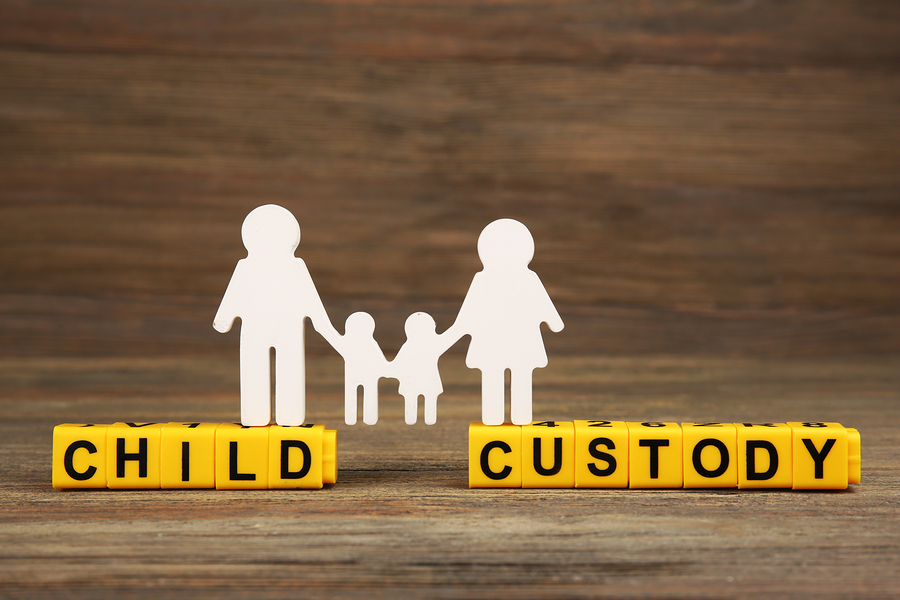 Cutout family and blocks with letters regarding child-custody and family-law concept